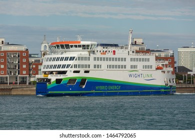 PORTSMOUTH, HAMPSHIRE, UK:JULY 29th 2019. Wightlink's Hybrid Energy ferry the Victoria of Wight Leaving the port of Portsmouth. Environmentally friendly car ferry operating to the Isle of Wight.