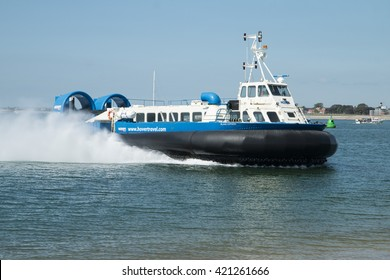 Portsmouth May 16 2016 Island Express Hovercraft arriving from Ryde, Isle of Wight.