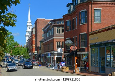 PORTSMOUTH, NH, USA - AUG. 18, 2014: Historic buildings on Congress Street near Market Square in downtown Portsmouth, New Hampshire, USA.
