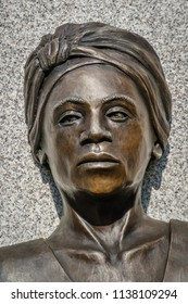 Portsmouth, NH, USA. July 12, 2018. Close-up view of the face of a slave women at the Portsmouth African Burying Ground memorial.