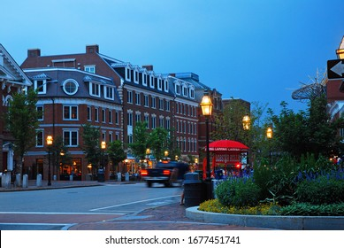 Portsmouth, NH, USA July 15 The street lights begin to illuminate at dusk in downtown Portsmouth, New Hampshire