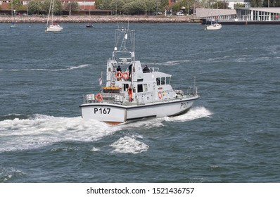 PORTSMOUTH, UK – 11TH MAY 2018: The Royal Navy Archer Class P2000 Fast Training Boat HMS EXPLOIT (P167) entering harbour