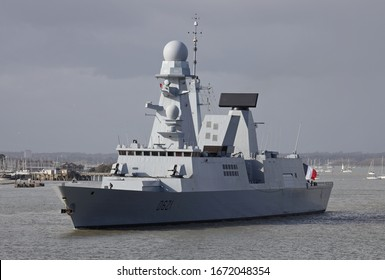 PORTSMOUTH, UK – 13TH MAR 2020: The French Marine Nationale Horizon class frigate FS CHEVALIER PAUL departing from the Naval Base after a five day visit