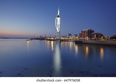 PORTSMOUTH UK - 15TH MARCH 2017; The Spinnaker Tower centrepiece of Portsmouth harbour illuminated at dusk
