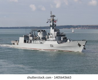 PORTSMOUTH, UK – 18TH JULY 2018: The Pakistan Naval Ship ASLAT arriving at the naval base for a goodwill visit. It has been 13 years since the Pakistan Navy last visited the city.