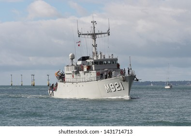 PORTSMOUTH, UK – 21ST JUN 2019: The minehunter BNS LOBELIA arriving at the Naval Base. The ship, commissioned in 1989, is one of five Tripartite class vessels operated by the Belgian Naval Component.