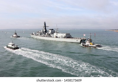 PORTSMOUTH, UK – 22ND JUL 2019: HMS ST ALBANS sails for the final time from the port it has called home for the last 18 years. The Type 23 anti-submarine frigate will now be based at Plymouth
