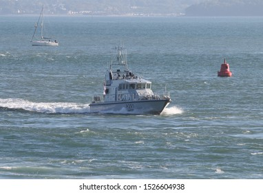 PORTSMOUTH, UK – 26TH SEP 2018: The Royal Navy Archer Class P2000 Fast Training Boat HMS PUNCHER returning to harbour on completion of the 1st Patrol Boat Squadron annual exercise in the Solent