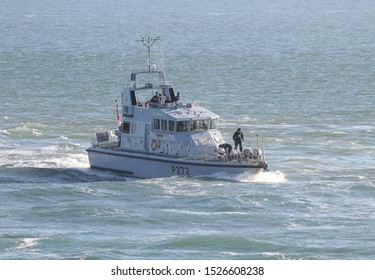 PORTSMOUTH, UK – 26TH SEP 2018: The Royal Navy Archer Class P2000 Fast Training Boat HMS SMITER returning to harbour on completion of the 1st Patrol Boat Squadron annual exercise in the Solent