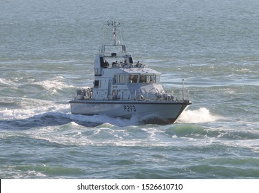 PORTSMOUTH, UK – 26TH SEP 2018: The Royal Navy Archer Class P2000 Fast Training Boat HMS RANGER returning to harbour on completion of the 1st Patrol Boat Squadron annual exercise in the Solent