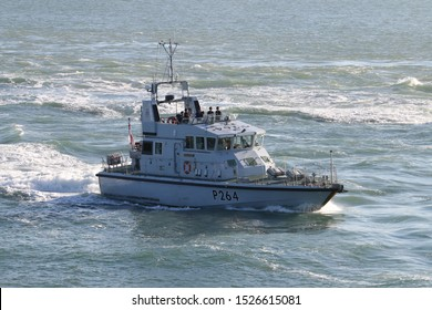 PORTSMOUTH, UK – 26TH SEP 2018: The Royal Navy Archer Class P2000 Fast Training Boat HMS ARCHER returning to harbour on completion of the 1st Patrol Boat Squadron annual exercise in the Solent