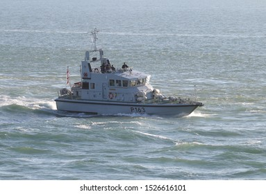 PORTSMOUTH, UK – 26TH SEP 2018: The Royal Navy Archer Class P2000 Fast Training Boat HMS EXPRESS returning to harbour on completion of the 1st Patrol Boat Squadron annual exercise in the Solent