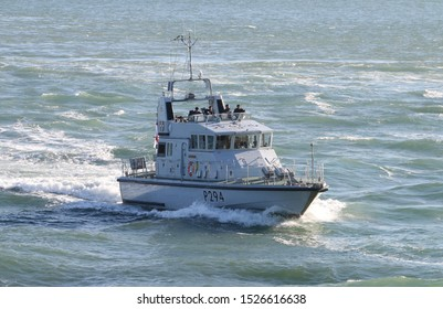PORTSMOUTH, UK – 26TH SEP 2018: The Royal Navy Archer Class P2000 Fast Training Boat HMS TRUMPETER returning to harbour on completion of the 1st Patrol Boat Squadron annual exercise in the Solent