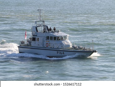 PORTSMOUTH, UK – 26TH SEP 2018: The Royal Navy Archer Class P2000 Fast Training Boat HMS EXPLORER returning to harbour on completion of the 1st Patrol Boat Squadron annual exercise in the Solent