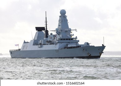 PORTSMOUTH, UK – 28TH SEP 2019: The Royal Navy destroyer HMS DUNCAN returns home from a six month maritime security deployment. Duties included escorting merchant shipping in the Strait of Hormuz