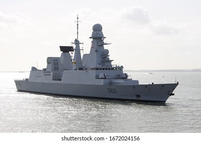 PORTSMOUTH, UK – 9TH MAR 2020: The French Marine Nationale frigate FS CHEVALIER PAUL arriving at the Naval Base. The Horizon class vessel is making a five day visit to the port