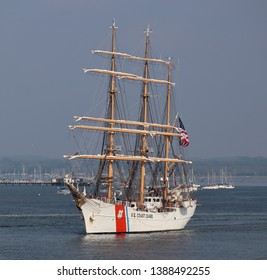 PORTSMOUTH, UK – APRIL 30TH 2019: The United States Coastguard tall ship USCGC EAGLE sails from Portsmouth after a courtesy visit to the city