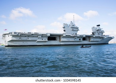 Portsmouth, UK February 27 2018 Royal Navy Flagship HMS Queen Elizabeth arriving following completion of sea trials