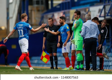 PORTSMOUTH, UK - JULY 28, 2018: Ronan Curtis of Portsmouth is substituted and replaced by Danny Rose