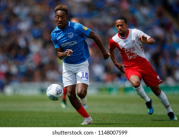 PORTSMOUTH, UK - JULY 28, 2018: Jamal Lowe of Portsmouth and Urby Emanuelson of FC Utrecht