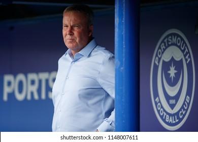 PORTSMOUTH, UK - JULY 28, 2018: Portsmouth manager Kenny Jackett