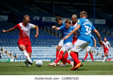PORTSMOUTH, UK - JULY 28, 2018: Ronan Curtis of Portsmouth shoots at goal