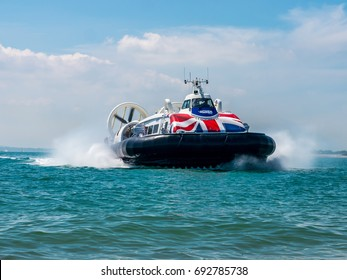 Portsmouth, UK, July 9th 2017.The Portsmouth to Isle of Wight hovercraft crosses the Solent between Ryde on the Isle of Wight and Southsea.