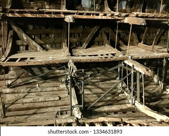 Portsmouth / UK - May 10 2017: Wreckage of the tudor warship the Mary Rose, on display in museum