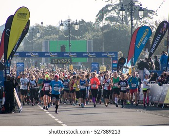 Portsmouth, UK, October 23rd 2016. Runners set off at the start of he Great South Run on Southsea Seafront.