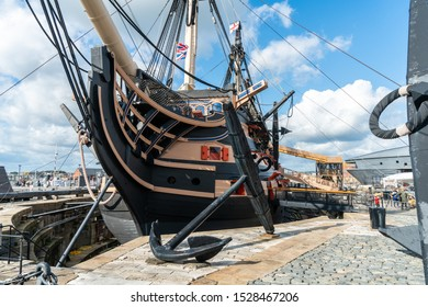 Portsmouth, United Kingdom - 6 October 2019: HMS Victory the Admiral Horatio Nelson's flagship at the Battle of Trafalgar in 1805 at Portsmouth Historic Dockyard, UK.