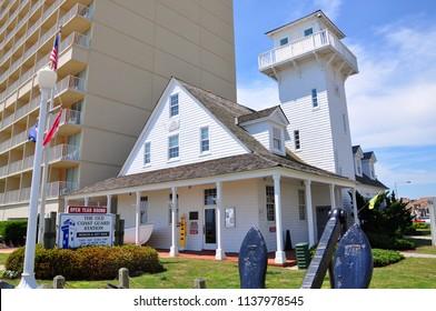 PORTSMOUTH, VA, USA - MAY 4, 2012: The Old Coast Guard Station at Atlantic Avenue in Virginia Beach Oceanfront, Virginia Beach, Virginia VA, USA.