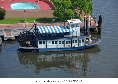 PORTSMOUTH, VA, USA - MAY 4, 2012: Steamboat operated by Hampton Roads Transit HRT connects downtown Norfolk to Old Town Portsmouth across Elizabeth River in Norfolk, Virginia, USA.