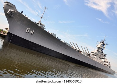 PORTSMOUTH, VA, USA - MAY 5, 2012: USS Wisconsin Battleship (BB-64) in Norfolk, Virginia, USA.