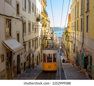 PORTUGAL, 01 OCTOBER 2018, LISBON Tram ,The Bica Funicular (Ascensor da Bica),