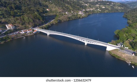 BAIÃO, PORTUGAL, 08 APRIL 2017 . Mosteirô Bridge made by Edgar Cardoso, a famous architect, in Douro River, Portugal. This bridge conects Baião to Cinfães