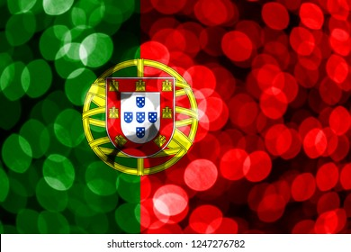 Portugal abstract blurry bokeh flag. Christmas, New Year and National day concept flag.