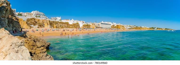 Portugal, Albufeira,  portuguese beach with cliffs PRAIA DO TÃ?NEL (PENECO)
