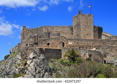 Portugal, Alentejo region, Portalegre, Marvao. The magnificent ancient frontier castle built on a mountain top.