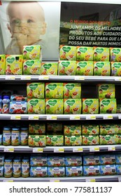 Portugal, Algarve, Monchique. Circa November 2013. Different types of baby food for sale in a Intermarche supermarket in Portugal