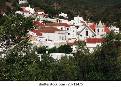Portugal Algarve Region Alte - picturesque historical whitewashed town nestled in the green hillside