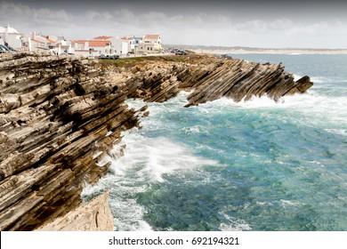 portugal atlantic rochy surf beach landscape