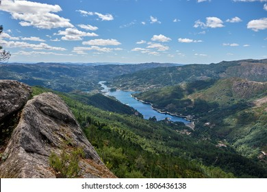 Gerês, Portugal - August 30, 2020 : View of Cavado river and Peneda-Geres National Park, Gerês, Portugal