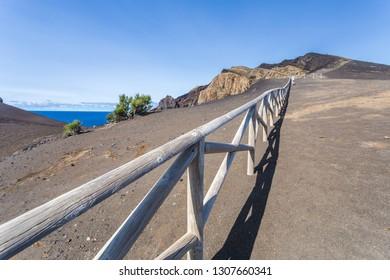 Portugal, Azores, Faial Island, Capelinhos, Capelinhos Volcanic Eruption Site of site and lighthouse