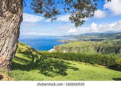 Portugal, Azores, Sao Miguel Island, Baia de Santa Iria, Miradouro de Santa Iria