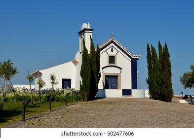portugal church ancient blue white background pine, green