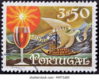 PORTUGAL - CIRCA 1970: A stamp printed in Portugal shows Transfer Port Wine by the River, circa 1970