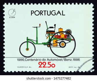 """PORTUGAL - CIRCA 1986: A stamp printed in Portugal from the """"100th Anniversary of the Automobile"""" issue shows Benz 1886, circa 1986."""