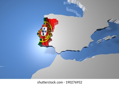 Portugal Country Map on Continent 3D Illustration