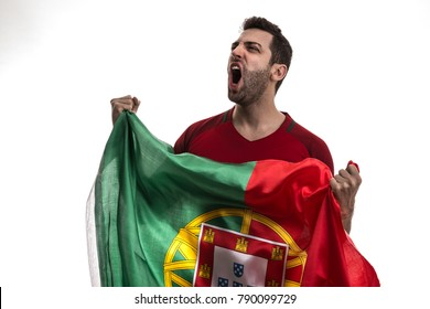 Portugal fan celebrating on white background