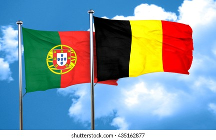 Portugal flag with Belgium flag, 3D rendering